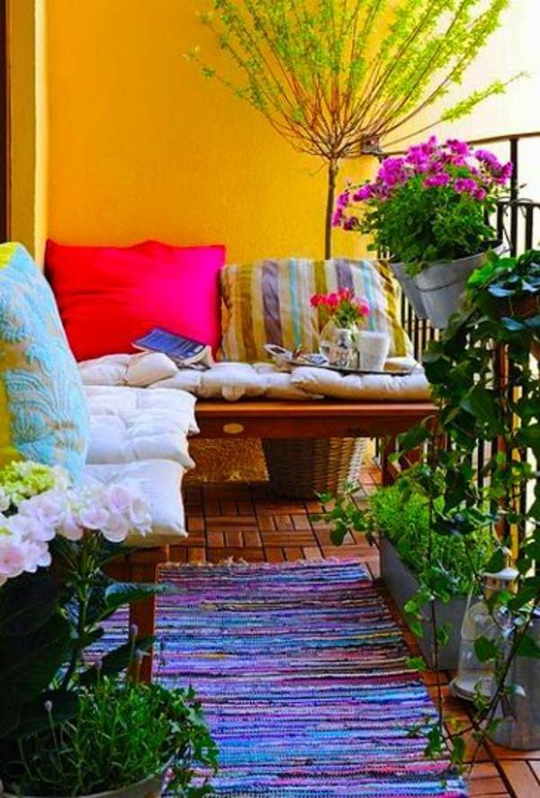 patio designideen farbig pflanzen terrassenteppich