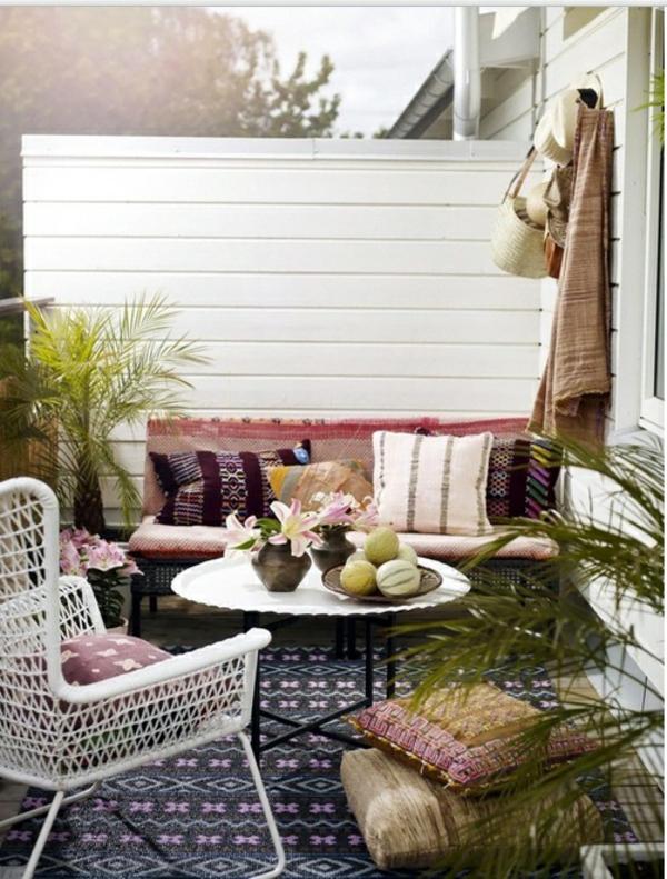 patio designideen stilvoll terrassenteppich outdoor möbel