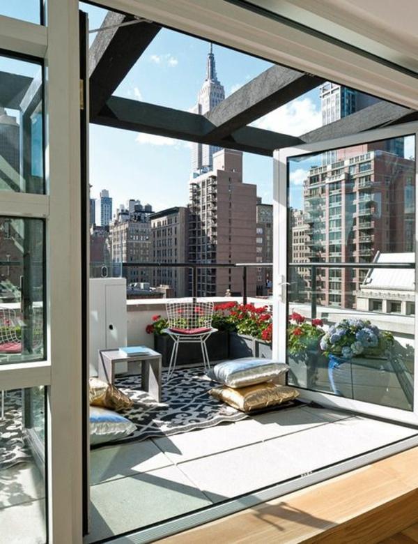 patio designideen urban dachterrasse pflanzen terrassenteppich