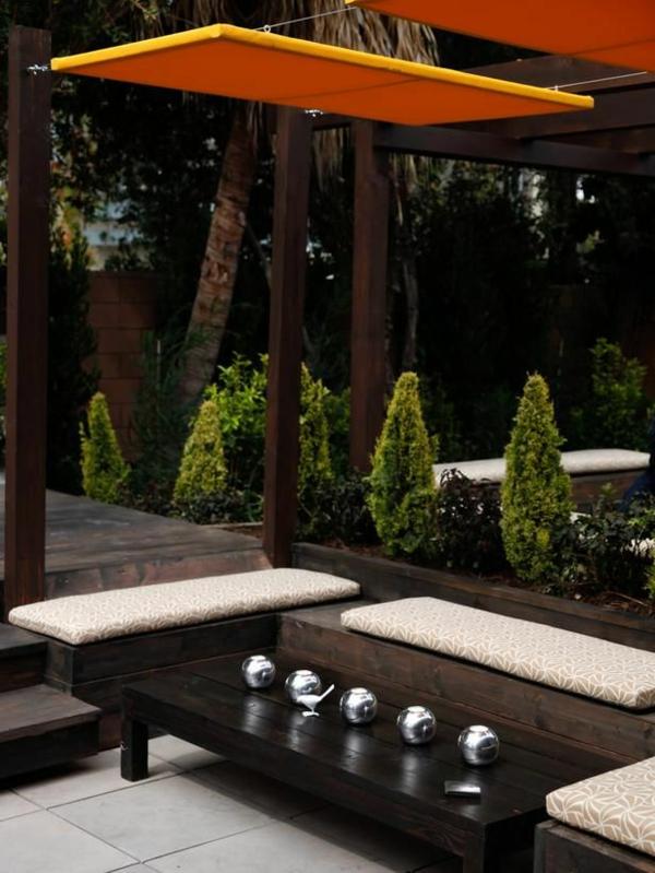 patio garten ideen pergola modern sitzbänke