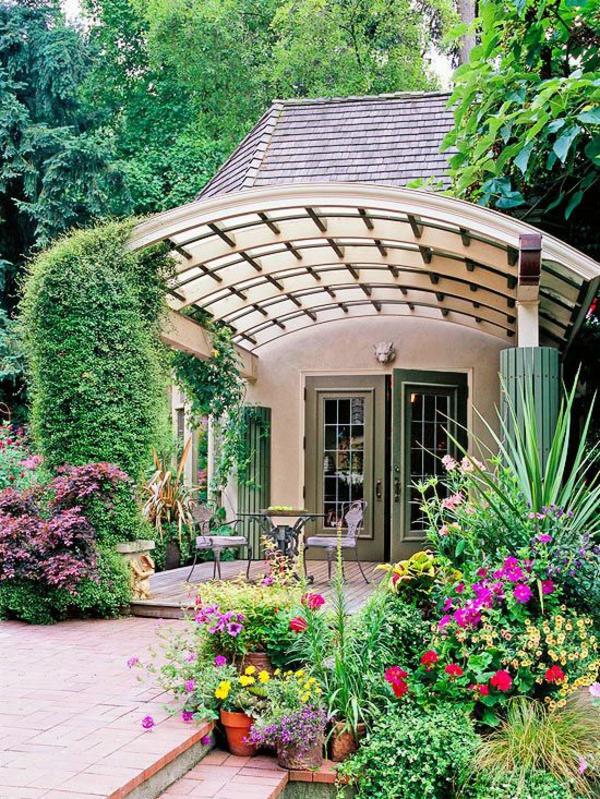 patio garten ideen pergola rund gartenmöbel pflanzen
