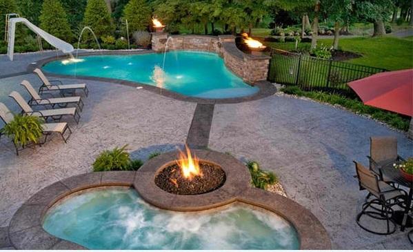 Garten pool und feuerstelle zusammenstellen 15 ideen for Gartenpool mit rutsche