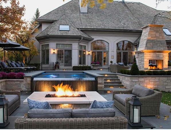 patio garten pool und feuserstelle sitzecke