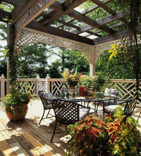 patio gartengestaltung ideen pergola selber bauen gartenmöbel