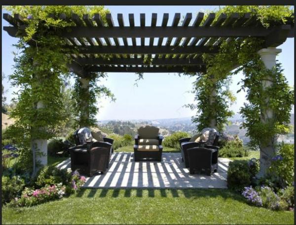 patio gartengestaltung ideen pergola selber bauen rattanmöbel