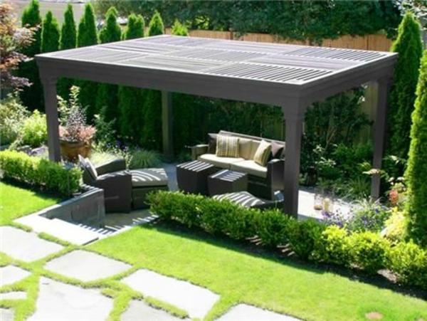 patio gartengestaltung ideen pergola selber bauen rechteckig