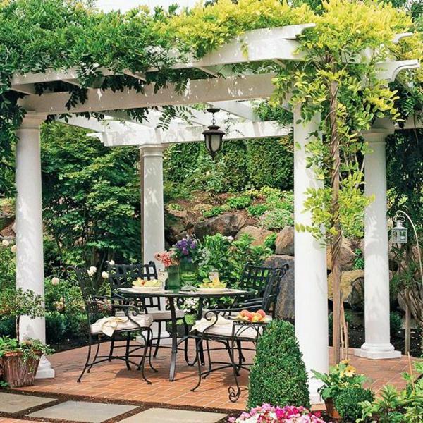 patio gartengestaltung ideen pergola selber bauen kletterpflanzen