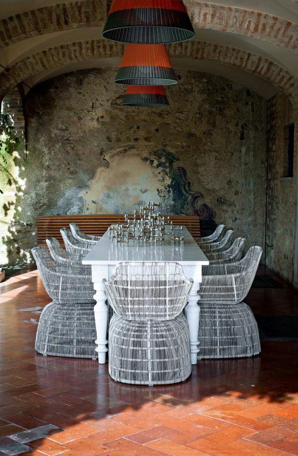 patio outdoor möbel gastronomie esstisch stühle weiß
