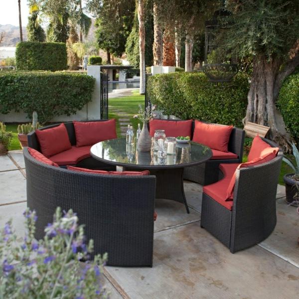 patio gastronomie outdoor möbel set esstisch sofas rote auflage