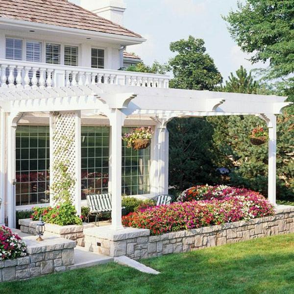 pergola design ideen an der terrasse einbauen