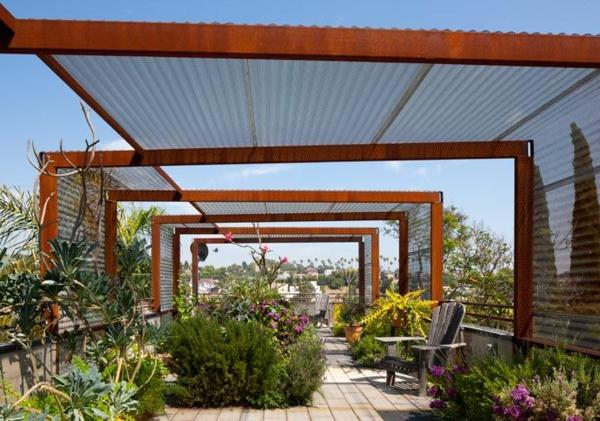 pergola design ideen dach stahl ornamente