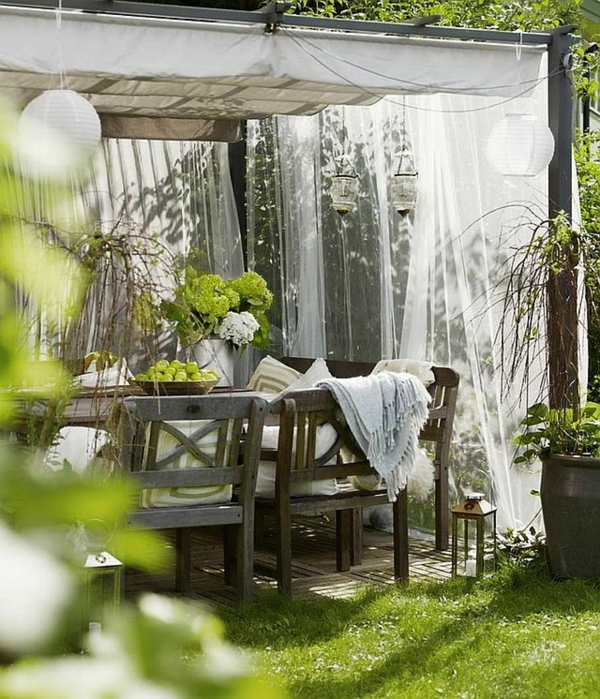 Design#5001308: Garten designideen - pergola selber bauen. Pergola Mit Vorhangen Ideen Garten Deko