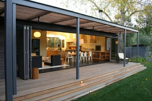 pergola metall holz konstruktion terassenüberdachung veranda bauen