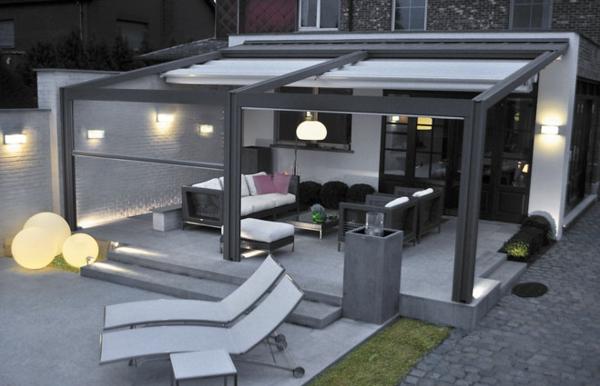pergola metall terrassenüberdachung sichtschutz wintergarten