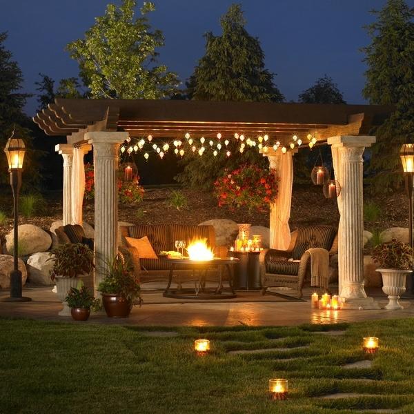 pergola patio moderne gartengestaltung ideen beleuchtung