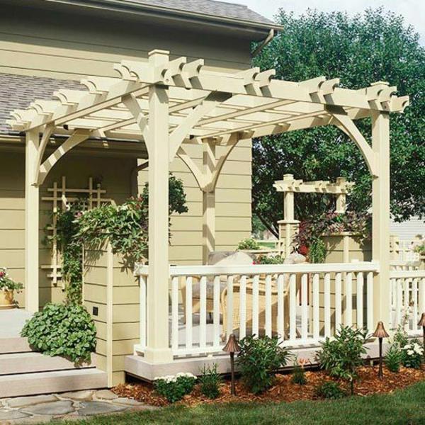 pergola selber bauen an der terrasse