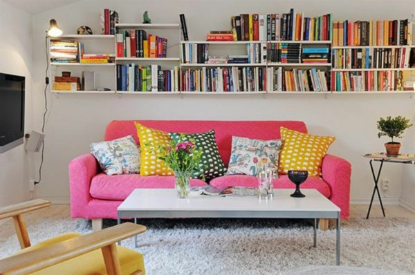 pink wohnzimmer sofa farbgestaltung ideen wandfarbe weiß