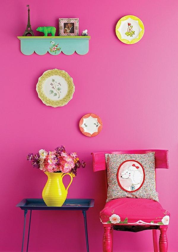 pinke wandfarbe kreative wangestaltung farbideen