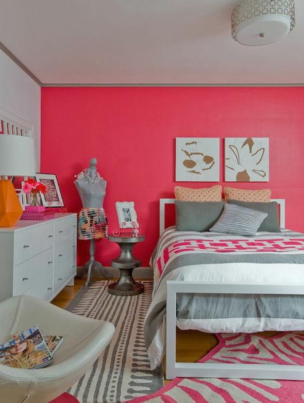 pinke wandfarbe schlafzimmer wangestaltung mit farbe lachsrot