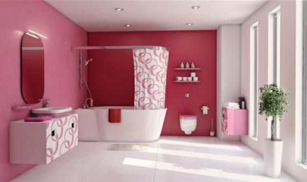 pinke wandfarbe wandfestaltung badezimmer bad wände streichen