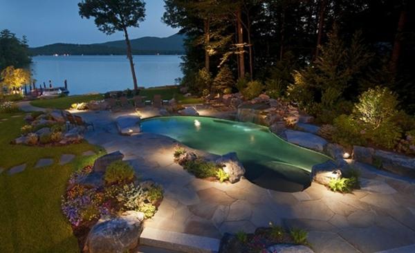 nachts beleuchtung garten idee pool stein