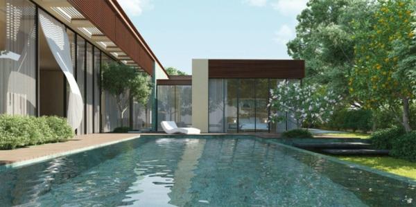 groß schwimmbecken patio pool im garten