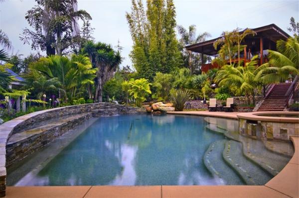 pool im garten spa wasserfall stein palmen landschaft