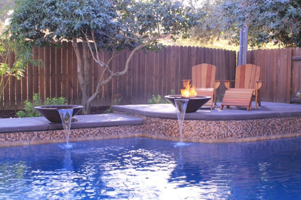 pool water features raised bond beam poseidon