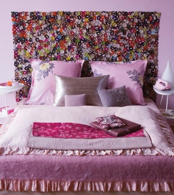 pracht lila farben blumenmuster bett schlafzimmer kopfteil