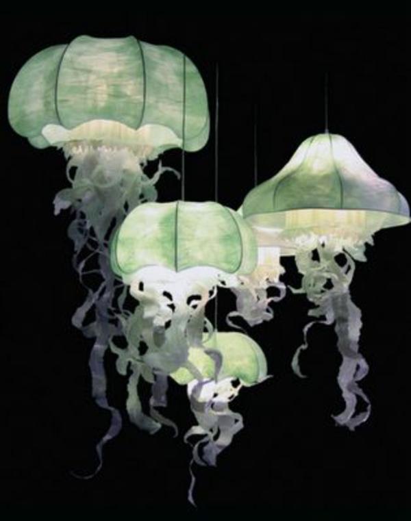 qualle papierlampen grün pendelleuchten