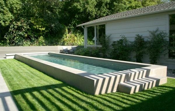 landschaft design außenbereich patio pool im garten