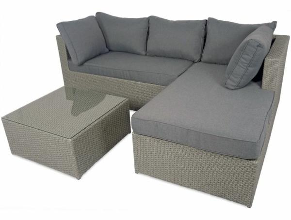 rattanmöbel outdoormöbel sofa grau polsterung