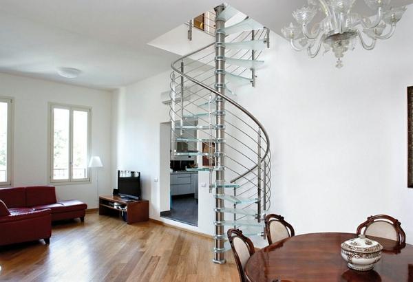 raum sparende spiraltreppe aus glas wohnzimmer essraum