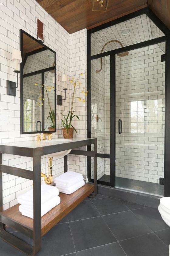 raumgestaltung badezimmer möbel wandgestaltung dusche goldakzente fliesen
