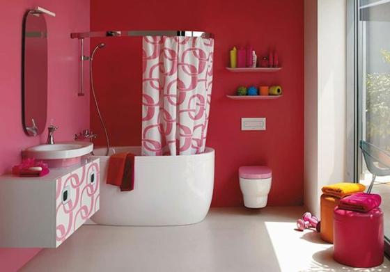 raumgestaltung farbe badezimmer wandfarbe pink muster