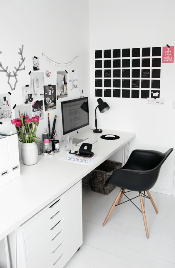 Raumgestaltung Ideen Arbeitszimmer Einrichten Wandgestaltung Kreativ  Praktisch Schwarz Weiß