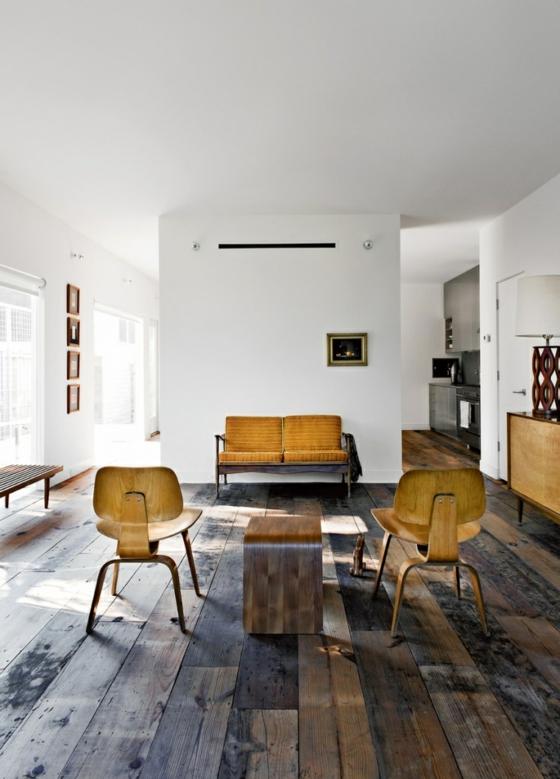 raumgestaltung wohnzimmer minimalistisch naturlook holzboden verlegen holzmöbel vintage