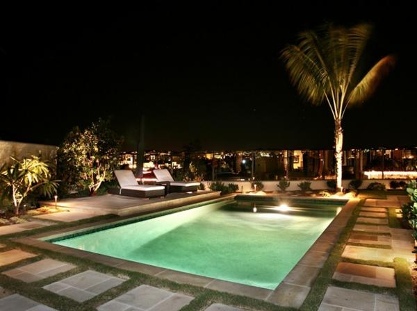 rechteckig tropisch pool urban landschaft