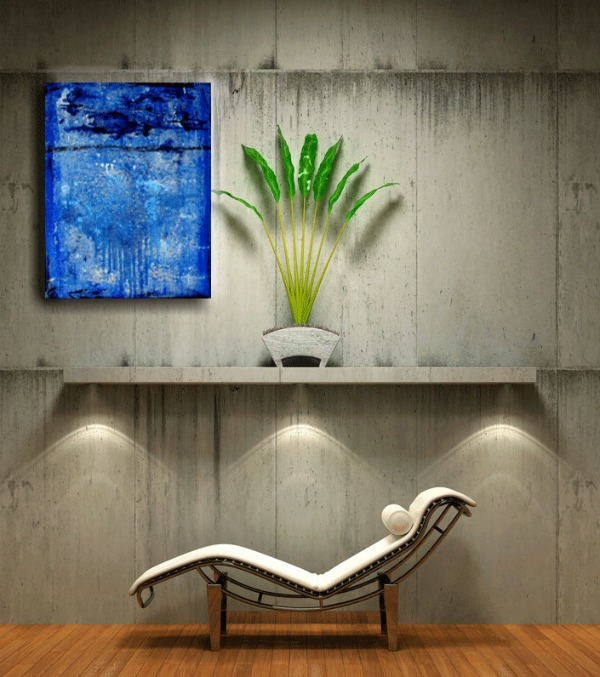 relaxsessel botonwände zimmerpflanze abstrakte kunst kreative wandgestaltung ideen