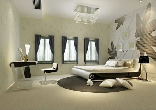 schlafzimmer design ideen schwarz-weiß weißes bett wand art