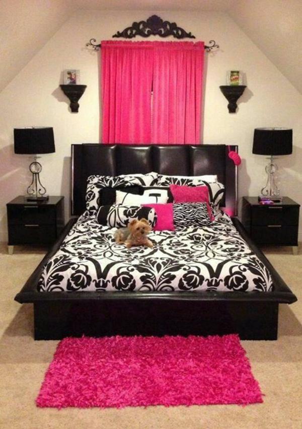 schlafzimmer designideen bett leder rosa teppich