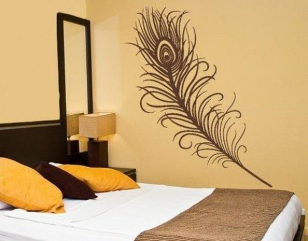 wandtattoo schlafzimmer feder inspiration. Black Bedroom Furniture Sets. Home Design Ideas