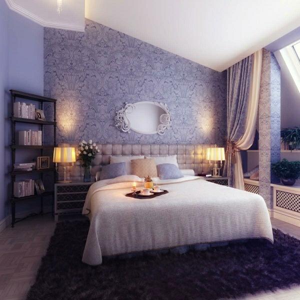 schlafzimmerwand gestalten - kreative dekoideen - Schlafzimmer Ideen Wandgestaltung Lila