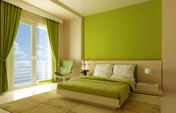 Schlafzimmer Designideen Minimalistisch Grün Bett Schlafzimmerwand ...