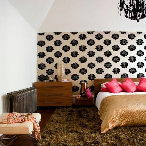 Schlafzimmer designideen wandgestaltung wandtapete schwarz weiß