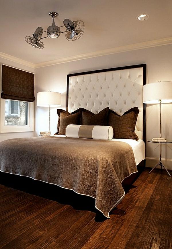 schlafzimmer einrichten bett kopfteil kronleuchter stehlampen lampen und leuchten