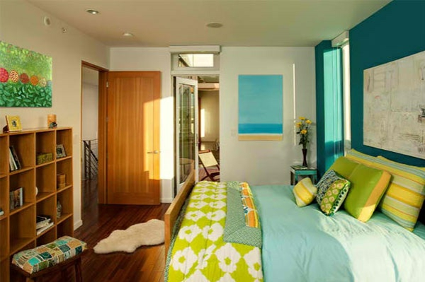 schlafzimmer farben ideen blau grün farbgestaltung ideen