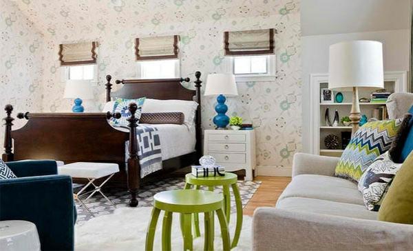 schlafzimmer farben ideen blau grün raumgestaltung mit farben wandtapete muster