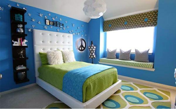 schlafzimmer farben ideen blaue wandfarbe grün raumgestaltung