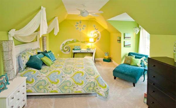 schlafzimmer farben ideen grelle leuchtende farben blau grün wandgestaltung ideen